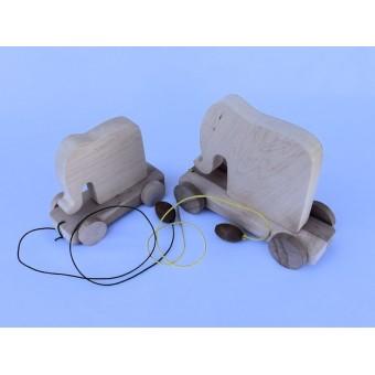 Drvena igračka - životinja za vući - Slon