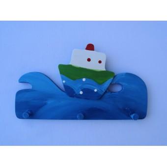 Drvena vješalica - mala - More i brod 1