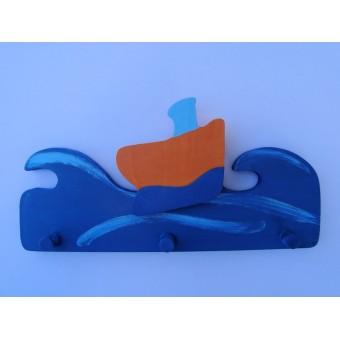 Drvena vješalica - velika - More i brod 3