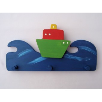 Drvena vješalica - velika - More i brod 2