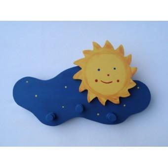 Drvena vješalica - velika - Oblak i sunce 1
